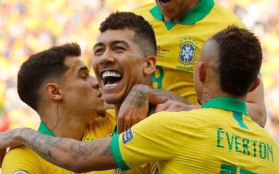 Segundo gol de Brasil. Lo hizo Firmino despuès de un desborde de Gabriel Jesùs. Brasil 2 – Argentina 0